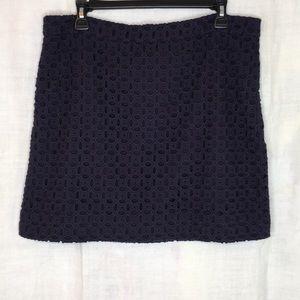 J Crew Navy Eyelet Short Skirt E-4